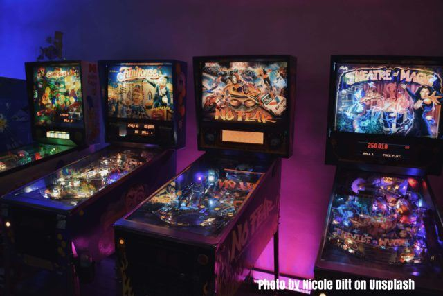 Pinball machines in an arcade