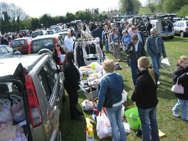 People at a car boot sale
