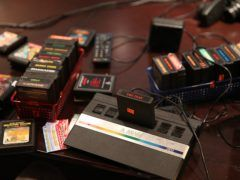 The Atari 2600 with a bunch of cartridges