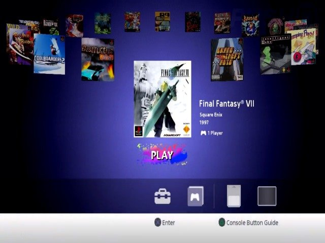 The PlayStation Classic interface