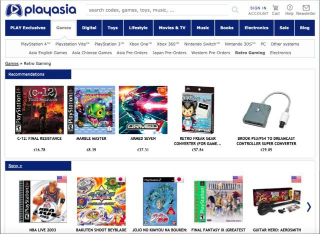Play-Asia homepage. The image contains an affiliate link.