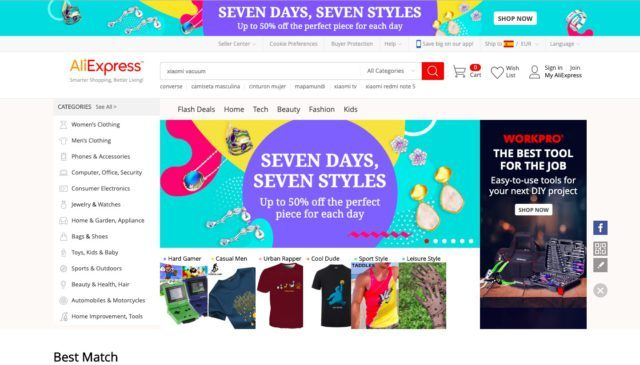 AliExpress Homepage. The image contains an affiliate link.