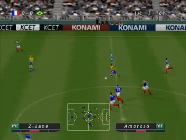 A screenshot from ISS Pro 98 for PlayStation 1