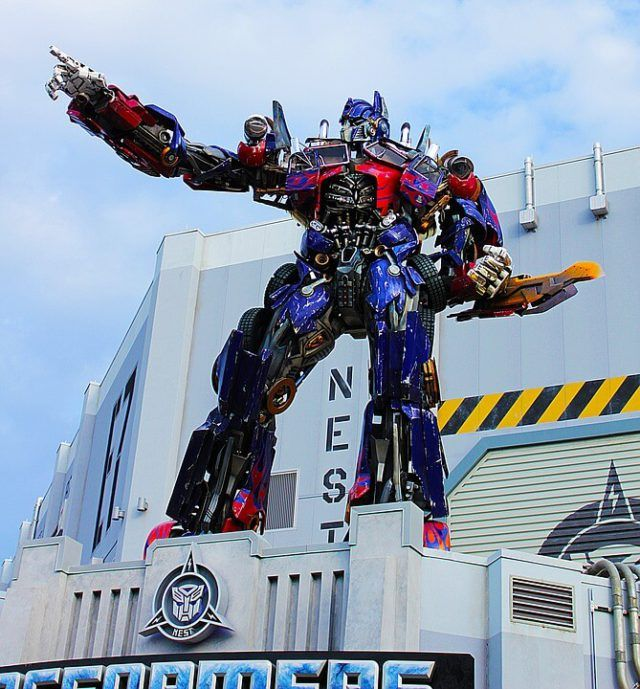 A life-size statue of Optimus Prime