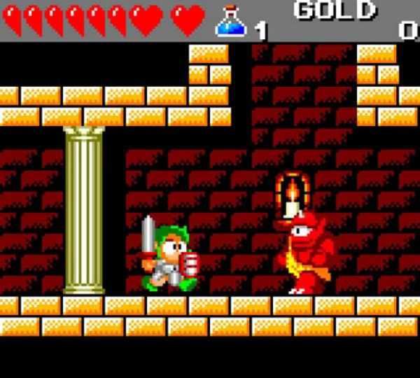 A screenshot from Wonderboy III: The Dragon's Trap