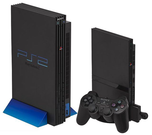 "The two models of the Sony PlayStation 2 console: the ""fat"" and the ""slim""."