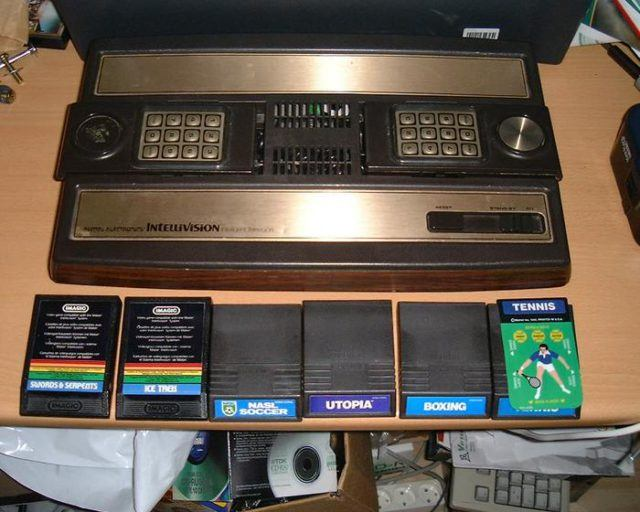 The Mattel Intellivision console with some games