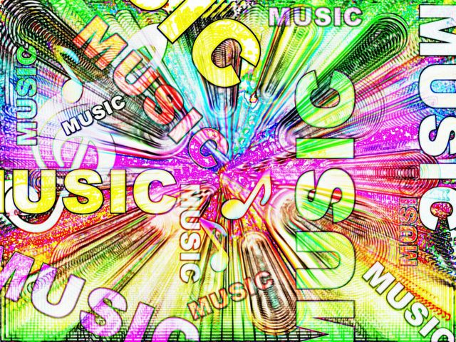 "An image reading the word ""music"" in different positions"