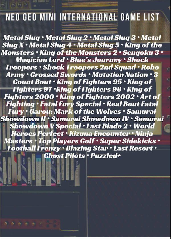 Neo Geo Mini International game list