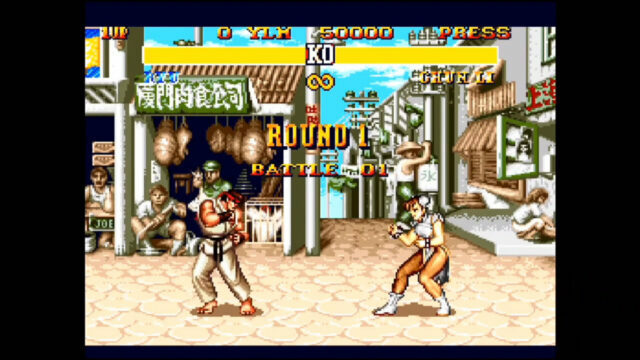 Street Fighter 2: Special Champion Edition on the Sega Genesis Mini.