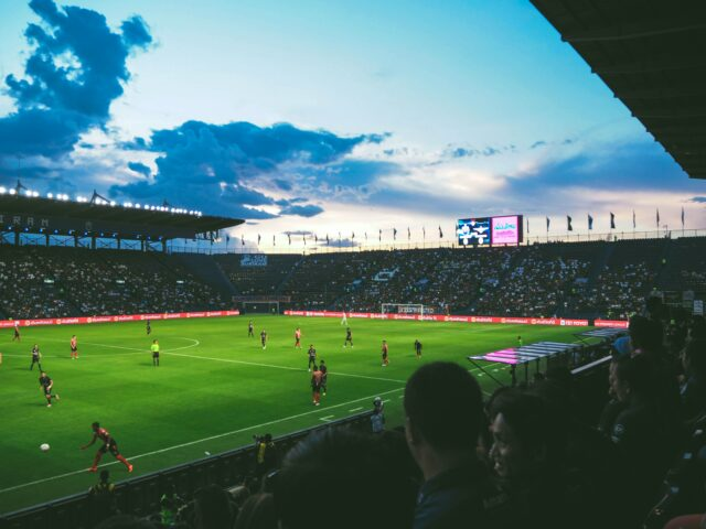 A soccer stadium during a game