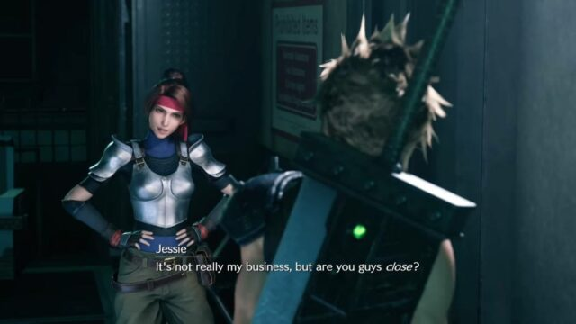 A scene from FInal Fantasy VII Remake featuring Cloud and Jessie