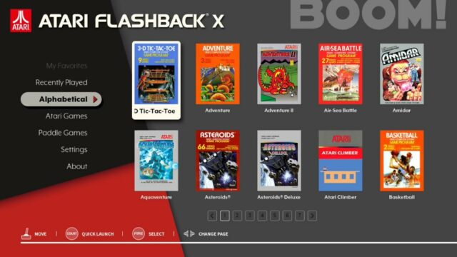 The Atari Flashback X interface