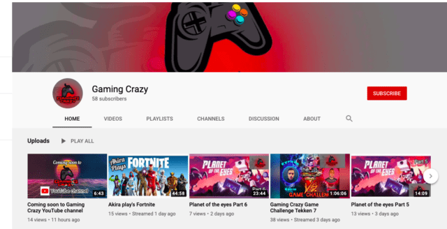 Gaming Crazy YouTube channel