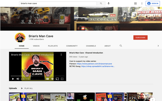 Brian's YouTube channel: Brian's Man Cave