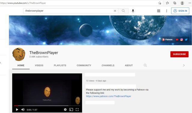 TheBrownPlayer's YouTube channel.
